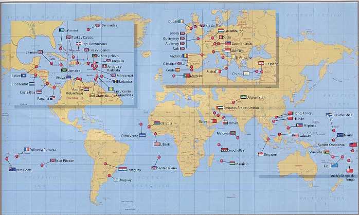 Mapa mundial de Paraisos Fiscales