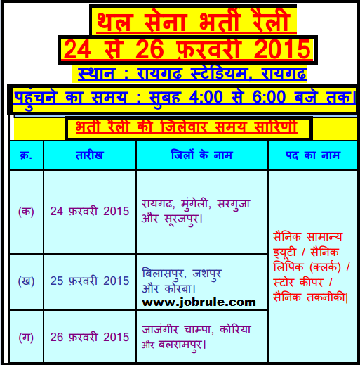 Army Direct Soldier recruitment Rally at Raigarh Stadium (Chhattisgarh) From 24th to 26th February 2015