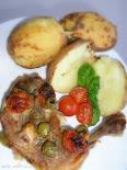 Olívás csirkecomb koktél- paradicsom- mal