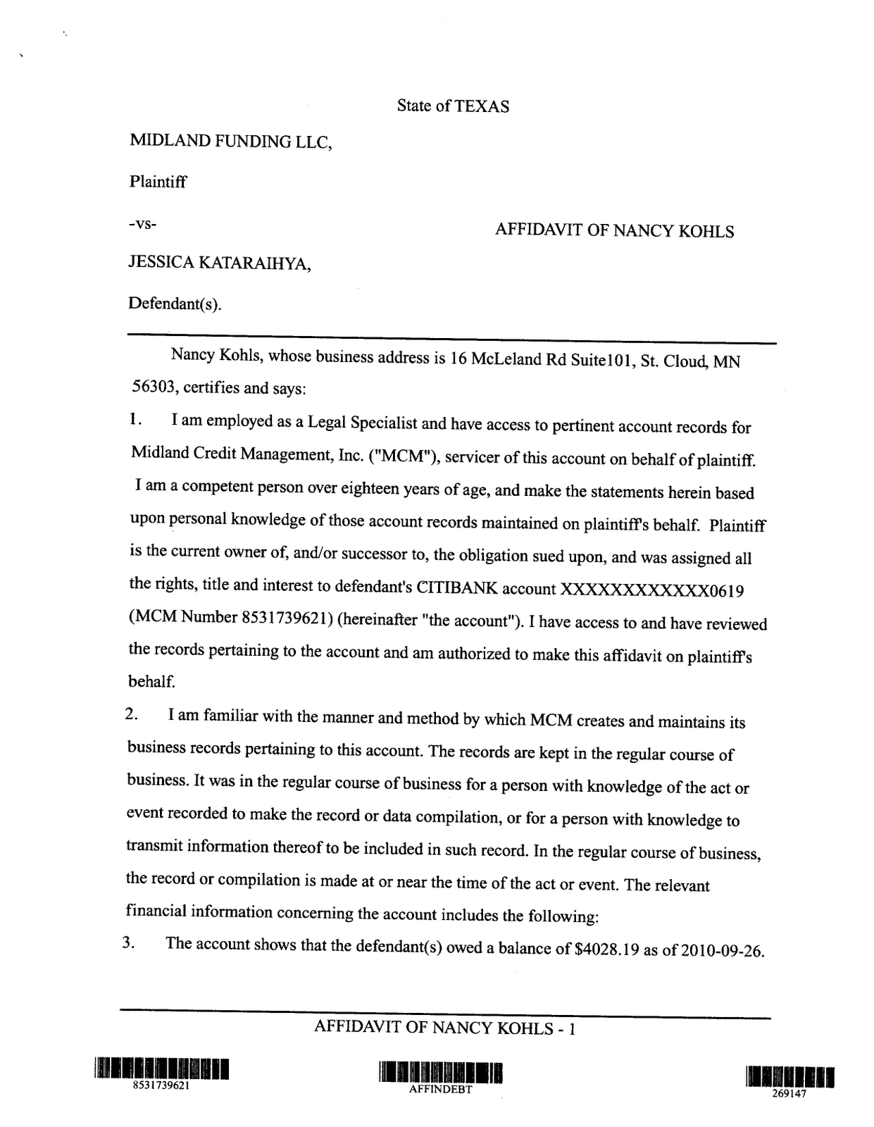 Typical Midland Affidavit from a
