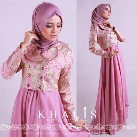 contoh desain baju muslim dress dari bahan sifon terbaru 2016