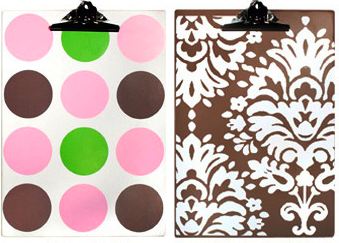 two clipboards - one with polka dots