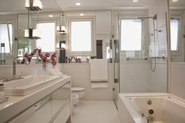 Construindo Minha Casa Clean 10 Banheiros Modernos com Armários Espelhados!  -> Espelho Banheiro Moderno