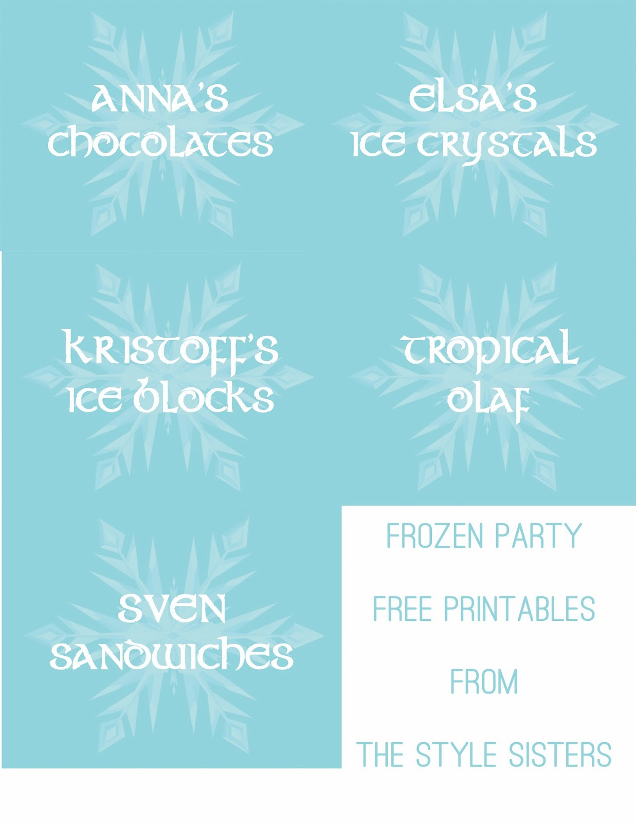 Frozen Food Labels, Frozen Birthday party, Free printable Frozen party Food labels