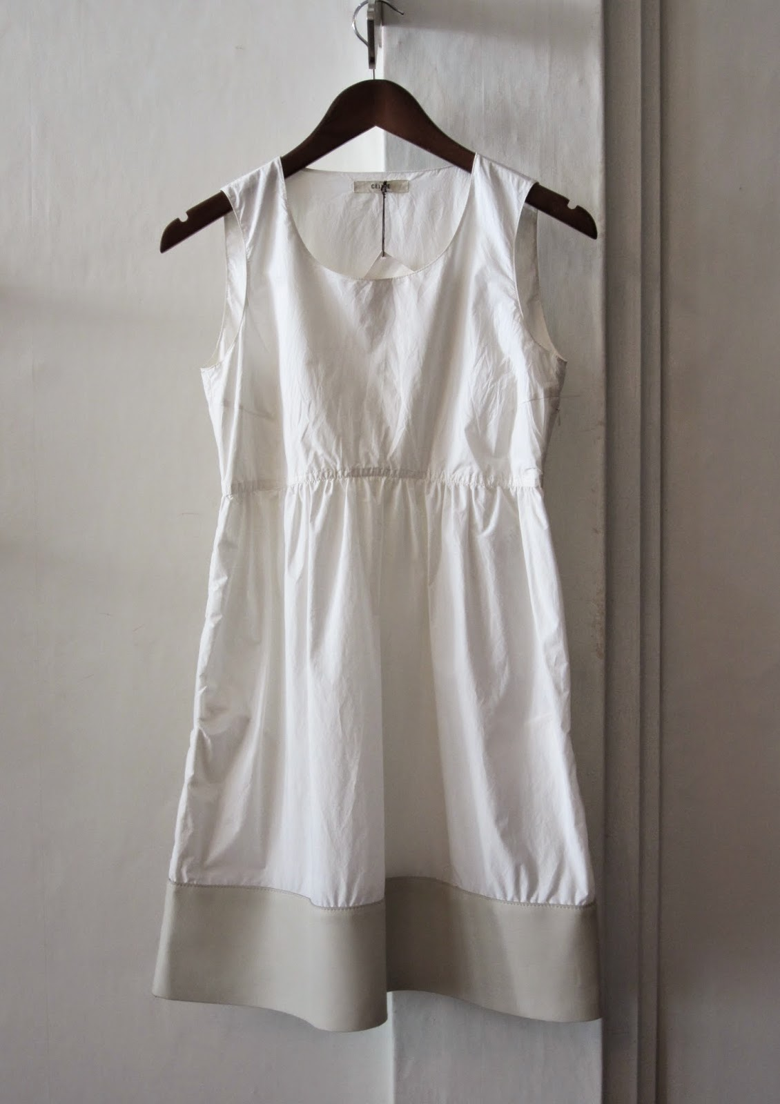 Céline White Cotton & Leather Dress