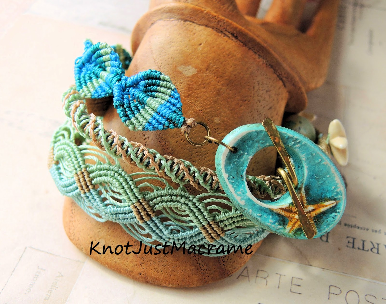 Starfish beach themed knotted micro macrame wrap bracelet by Knot Just Macrame.