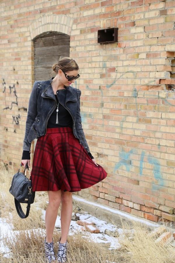 moooh plaid tartan skirt blogger style