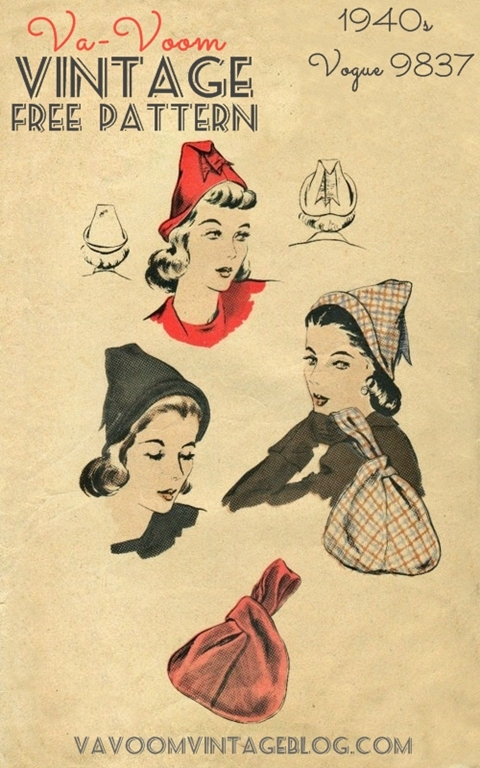 Free Sewing Pattern: 1940s Vogue 9837 Hat and Bag - Va-Voom Vintage ...
