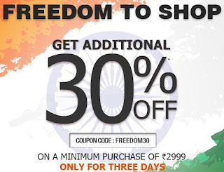 Independence Offer: Get Upto 70% + Extra 30% Off on Min. Cart Value of Rs.2999 & above at Jabong