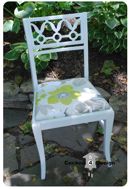 refinished vintage white chair with green, grey and white Waverly fabric