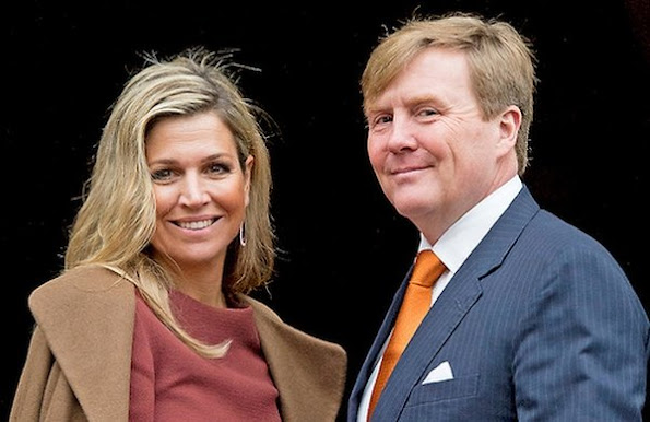 King Willem-Alexander and Queen Maxima of The Netherlands meet the European commission at the start of the Dutch European Presidency at the Royal Palace