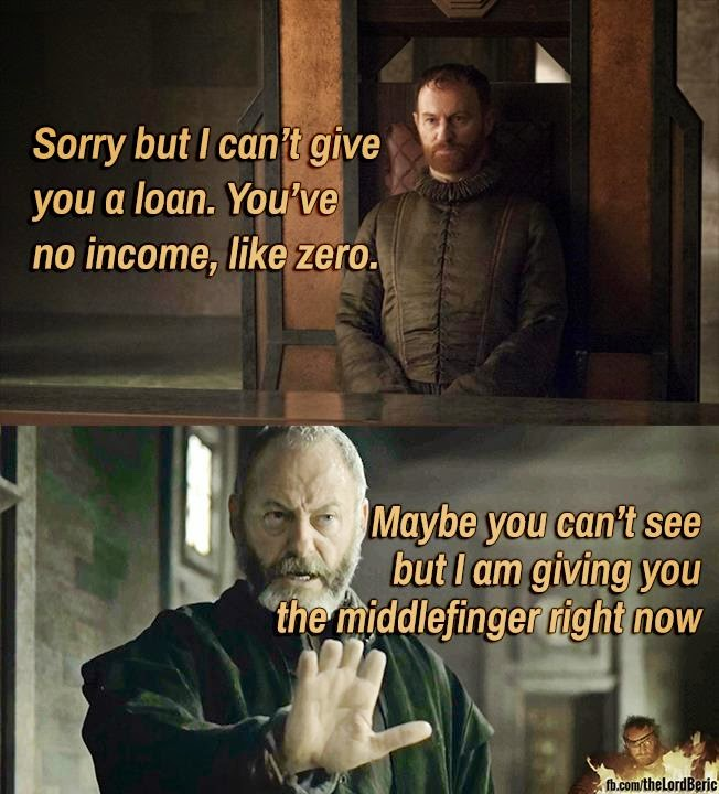 #GameOfThrones Ser Davos Giving the Middle Finger Meme