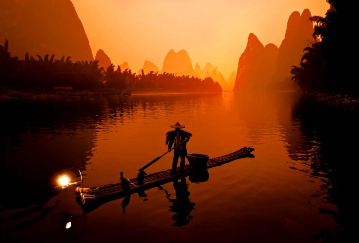 Warm Fisherman in Guilin nice nature desktop wallpaper facebook