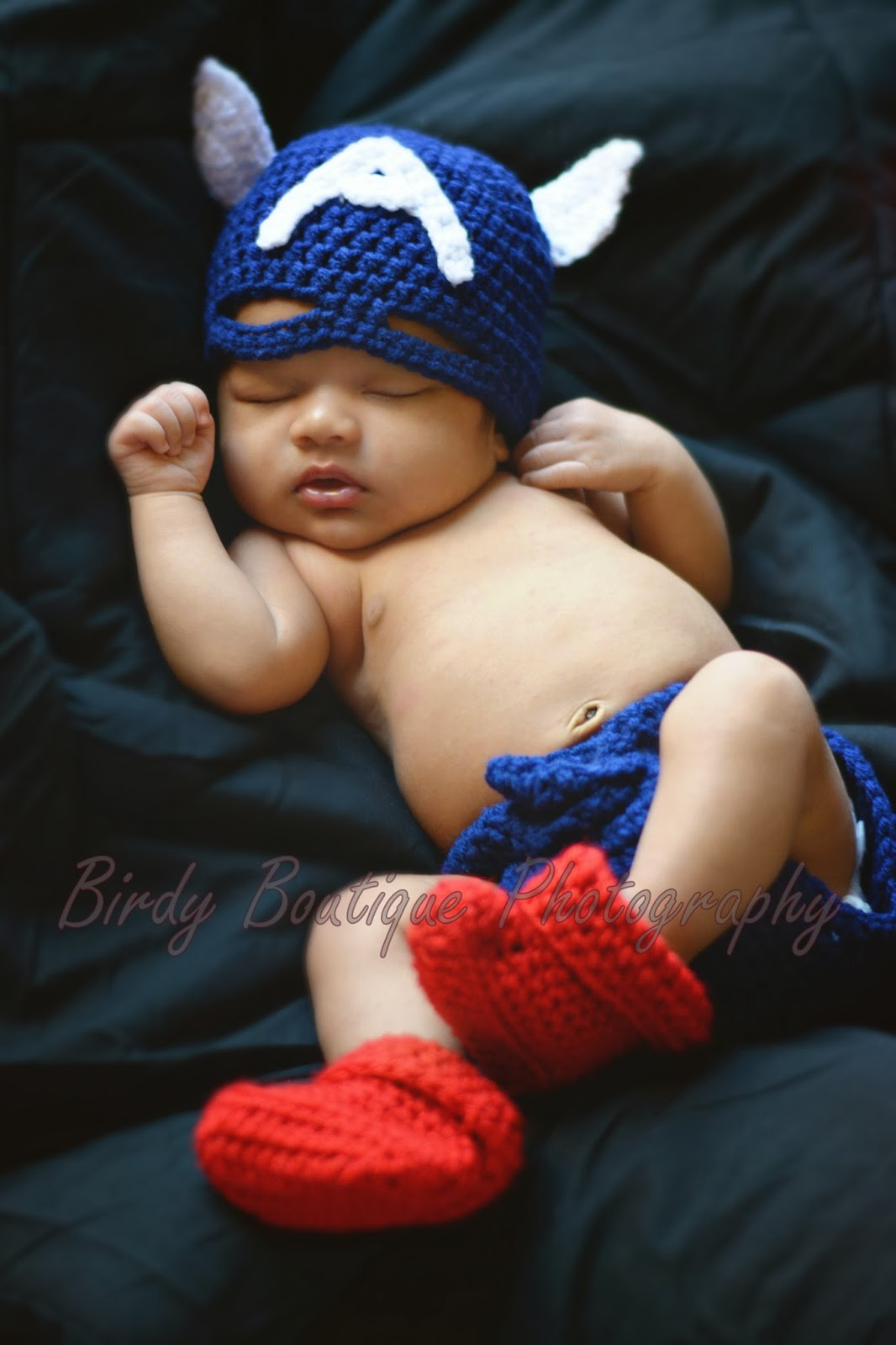 birdy boutique photography  newborn boy shoot with a handmade captain america costume