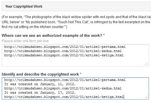 formulir klaim URL hak cipta saudara