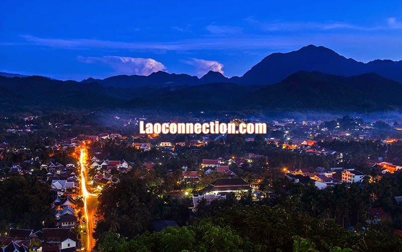 Bird's Eye View of Luangprabang in the Evening