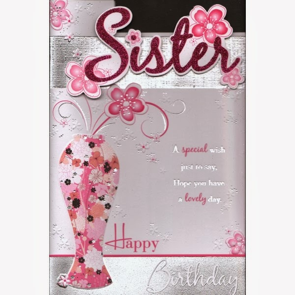 Sms with Wallpapers: Happy Birthday sister wishes cake,e-cards