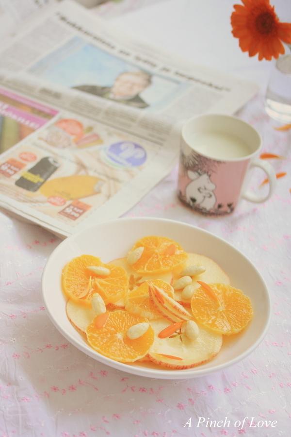 simple things!  - apple, orange in honey orange juice - breakfast