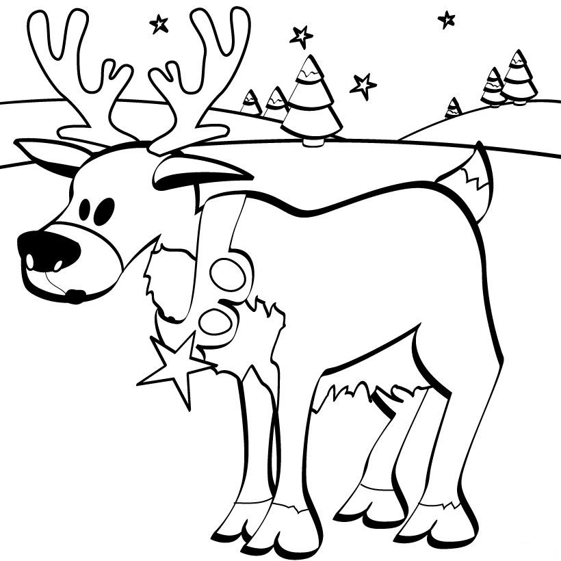 christmas reindeer coloring child coloring