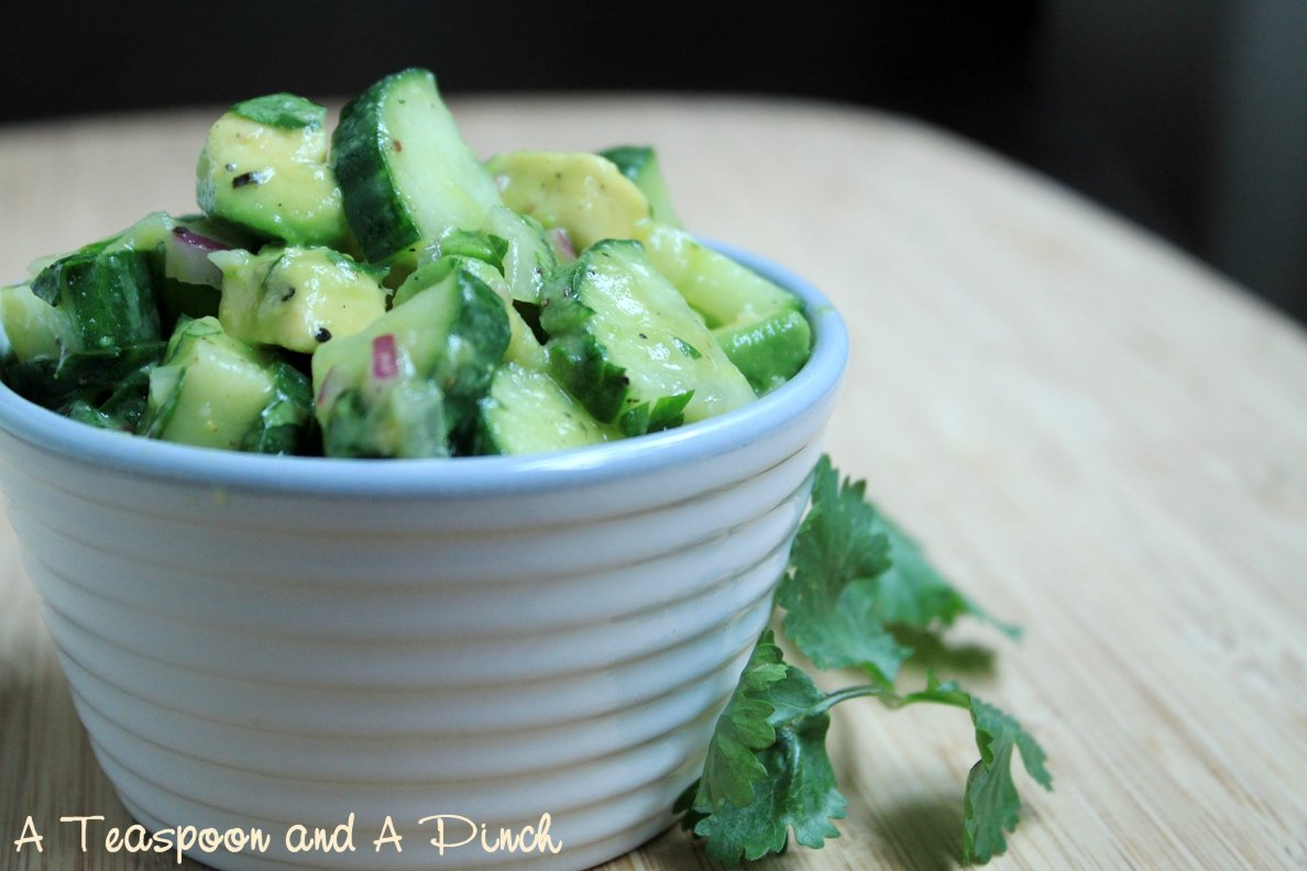 A Teaspoon and A Pinch: Tangy Cucumber and Avocado Salad