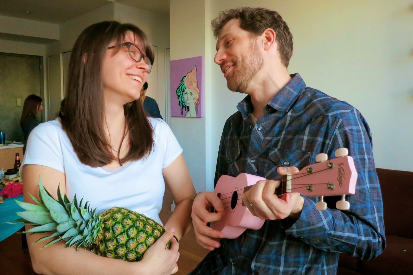 Purim Luau, pineapple, ukelele, Party, pink