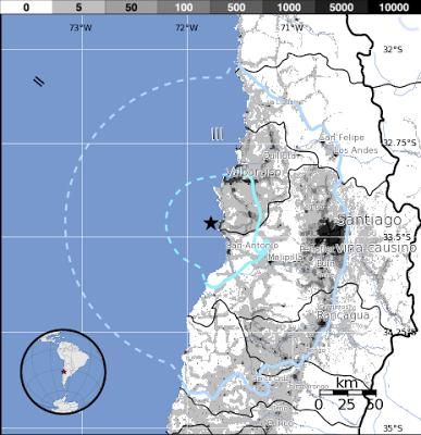 Epicentro sismo 5,7 grados, Chile, 10 de Febrero 2013