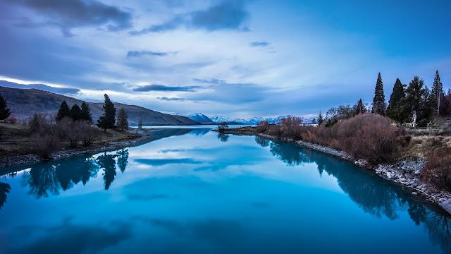 Blue Nature Landscape Mountains Lake Reflection HD Wallpaper