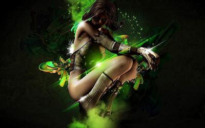 creative green fantasy girls 1920x1200