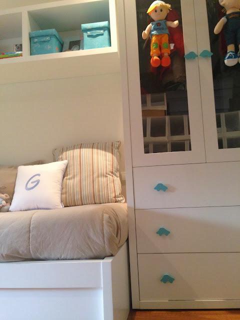 Blue and beige stripes boy's bedroom