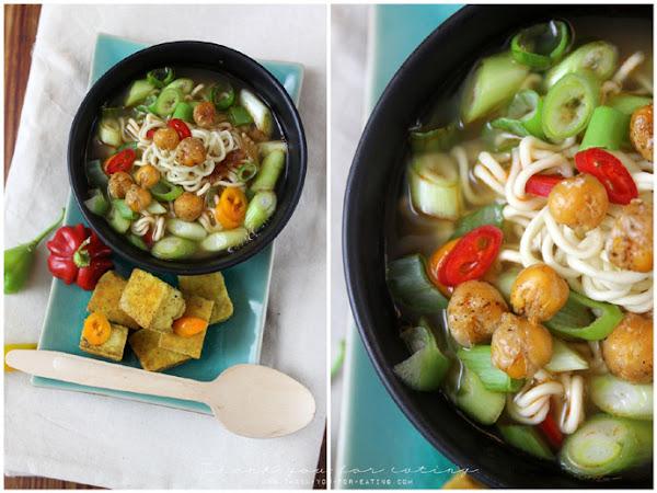 Scharfe Kichererbsensuppe mit Knusper-Tofu!
