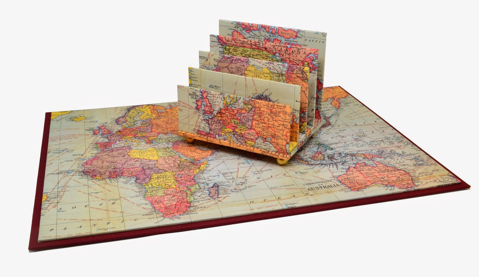 Parvum opus september 2014 a desk pad and petite letter sorter made in cavallinis vintage world map paper paired with italian book cloth in a deep wine color gumiabroncs Image collections