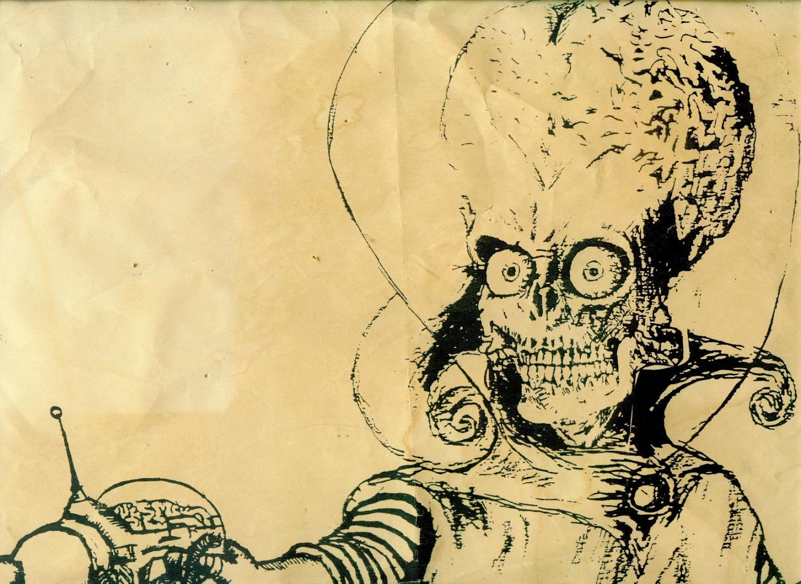 Mars Attacks Alien Drawing An older drawing that i did