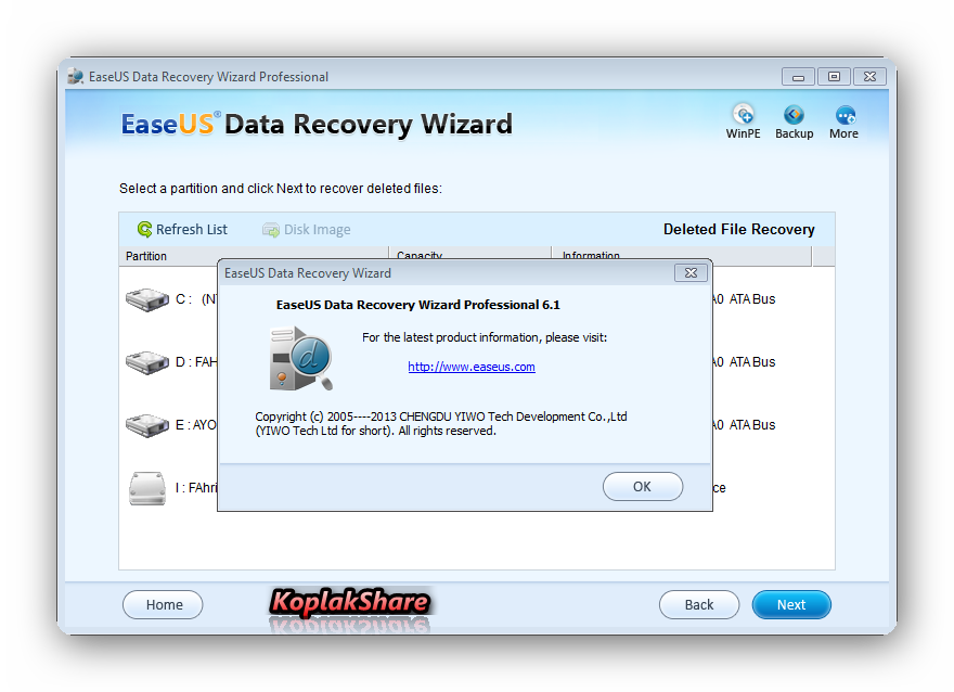 EaseUS Data Recovery Wizard Pro 6.1.0 Full Serial