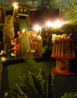 Photo of one of the wacky Plonk Golf holes at the Efes Snooker Hall course in Dalston, London