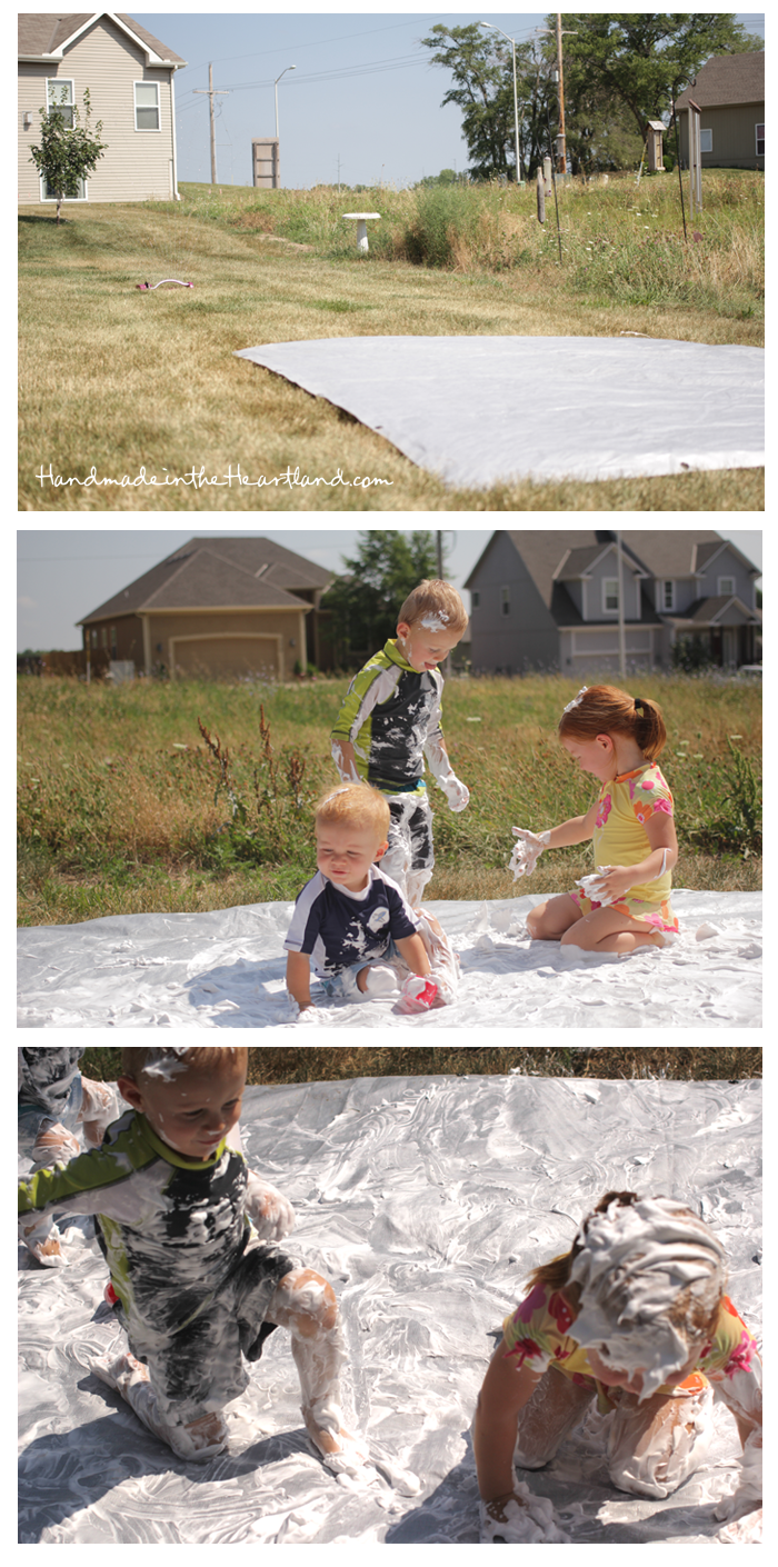 Toddler Activities: Shaving Cream Slip-n-Slide