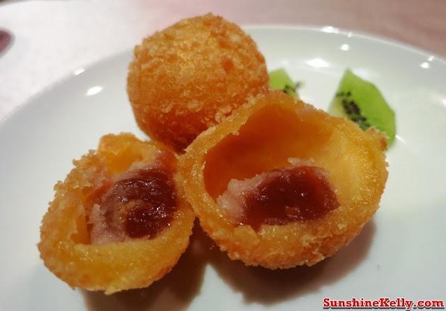 Chinese New Year Menu, Four Season Prosperity Yee Sang, Tai Zi Heen Restaurant, Prince Hotel & Residence KL, yee sang, lou sang dinner, Crispy deep fried Chinese brown sugar, nian gow, yam, sweet potato balls