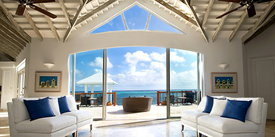The living room with spectacular sea views