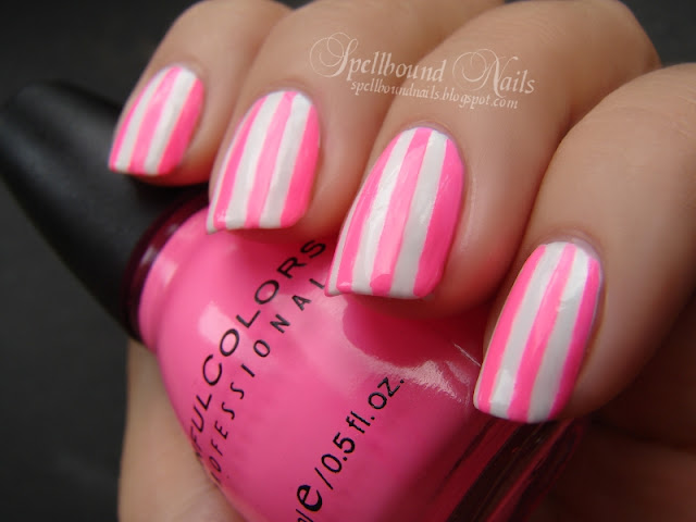 nails nailart nail art mani manicure Spellbound Sinful Colors China Glaze White Pink neon hot bright stripes tape black taped ragged drip run tips