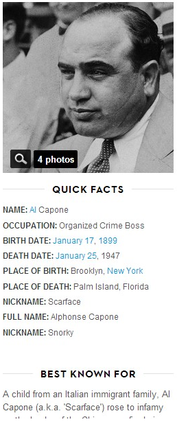 a brief biography of alphonse capone The history of al capone keyword after analyzing the system lists the list of keywords related and the list of websites with related content, in addition you can see which keywords most interested customers on the this website.