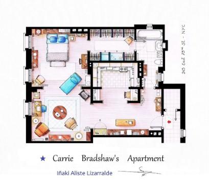 Le piante degli appartamenti di 3 famose serie televisive for Piccole planimetrie della casa con 3 camere da letto