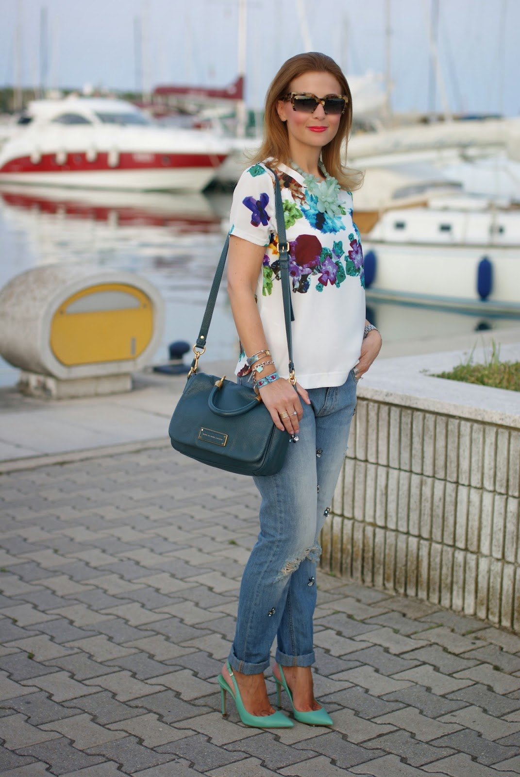 tiffany pumps, jeweled boyfriend jeans, miu miu rasoir sunnies, Fashion and Cookies, fashion blogger