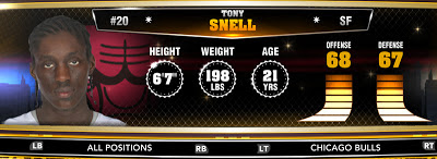 NBA 2K13 Bulls Tony Snell - Round 1 20th Overall