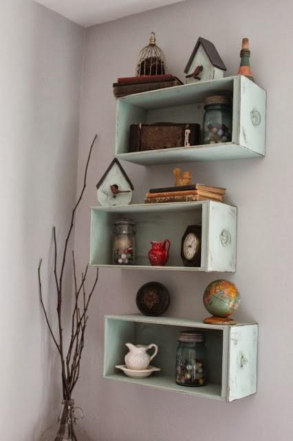 http://namelyoriginal.blogspot.com/2013/12/drawers-turned-shelves.html