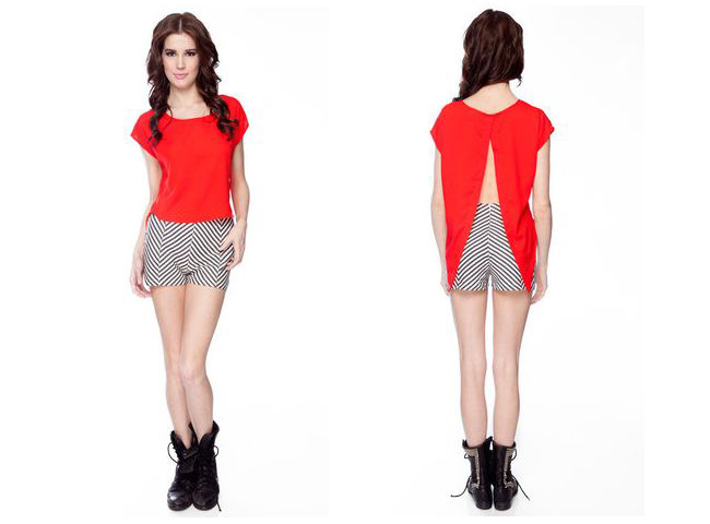Red cals collection hankerchief top, red backless top, hankerchief top, red top, tobi, red top from tobi