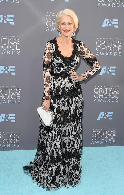 Top 5 das mais bem vestidas dos Critics' choice awards 2016 Helen Mirren num vestido Dolce&Gabbana