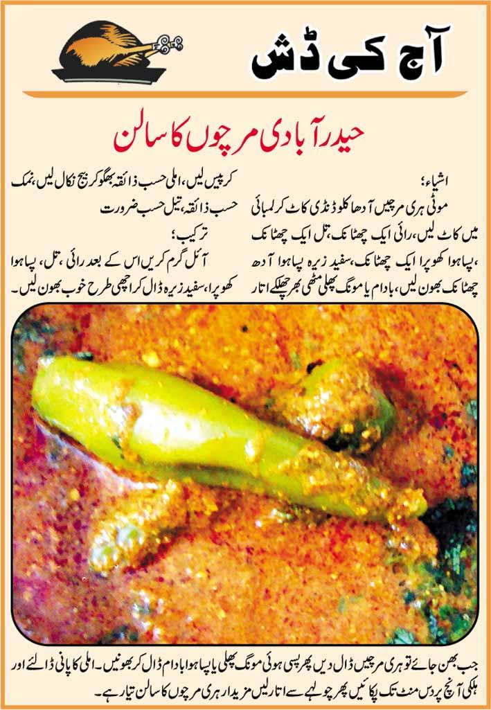 Hyderabadi Mirchi Salan Recipe In Urdu