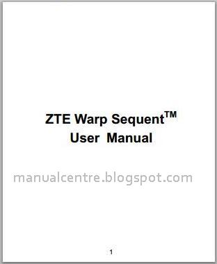 ZTE Warp Sequent Manual Cover