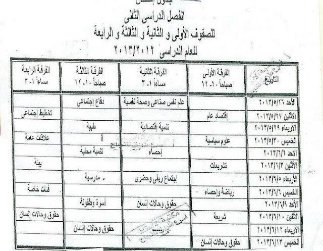 جدول امتحانات الفرقة الاولي خدمه اجتماعية بنها الترم الثاني 2013