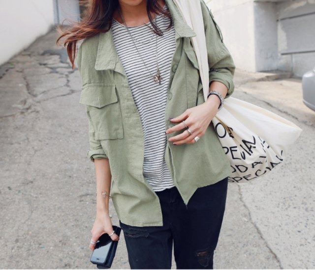 Navy tee and military green shirt