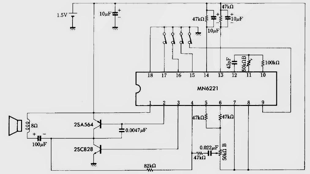 Skema rangkaian bel musik dengan IC  MN6221